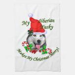 Navidad del husky siberiano toallas de mano
