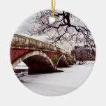 Navidad del invierno en el río Charles Boston Adorno