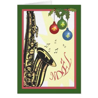 Navidad del jazz de New Orleans del saxofón Felicitación