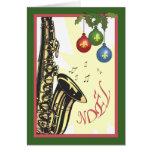 Navidad del jazz de New Orleans del saxofón Tarjeta De Felicitación