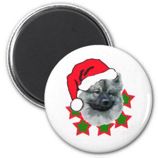 Navidad del Keeshond Imán Redondo 5 Cm