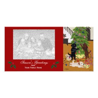 Navidad del labrador retriever tarjeta fotografica