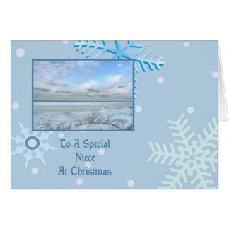 Navidad del lago winter de la sobrina tarjeta de felicitación