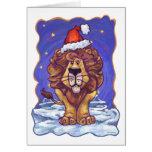 Navidad del león tarjetón