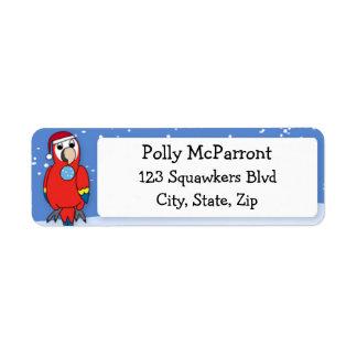 Navidad del Macaw del escarlata buenas fiestas Etiqueta De Remitente