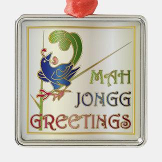 Navidad del Mah Jongg un ornamento del Bam Adorno Navideño Cuadrado De Metal