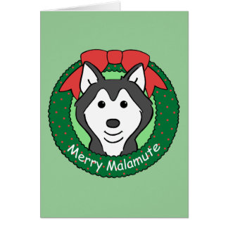 Navidad del Malamute de Alaska Tarjeton