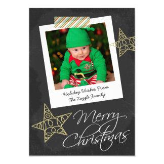 """Navidad del marco y de la cinta de la foto de la invitación 5"""" x 7"""""""