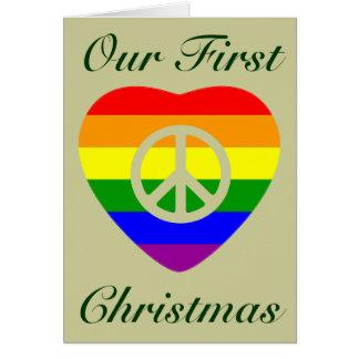 Navidad del matrimonio homosexual del corazón de l tarjeta de felicitación