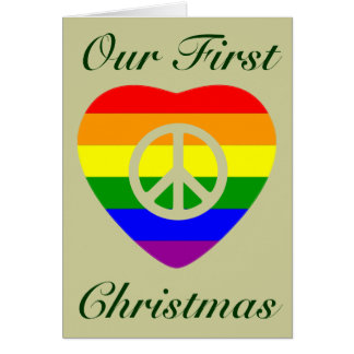 Navidad del matrimonio homosexual del corazón de tarjeta de felicitación