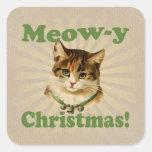 Navidad del Maullido-y, animal lindo del gato del Pegatina Cuadrada