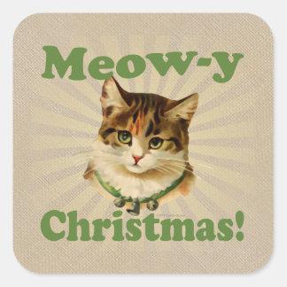 Navidad del Maullido-y, animal lindo del gato del Pegatinas Cuadradas