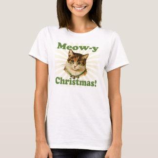 Navidad del Maullido-y, animal lindo del gato del Playera