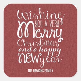 Navidad del mensaje/pegatinas adorables del día de calcomania cuadrada personalizada