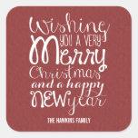 Navidad del mensaje/pegatinas adorables del día de pegatina cuadrada