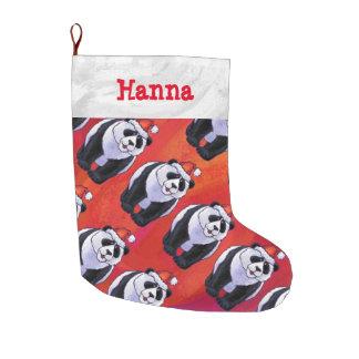 Navidad del modelo del oso de panda de cabezas y bota navideña grande