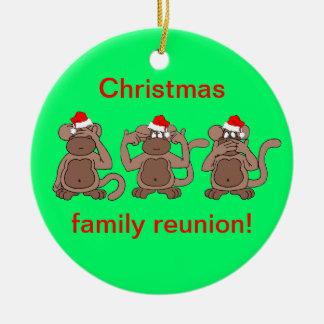 navidad del mono adorno navideño redondo de cerámica