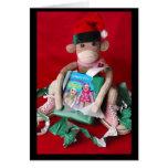 Navidad del mono del calcetín felicitaciones