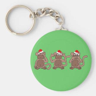 navidad del mono llavero redondo tipo pin