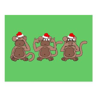 navidad del mono postales