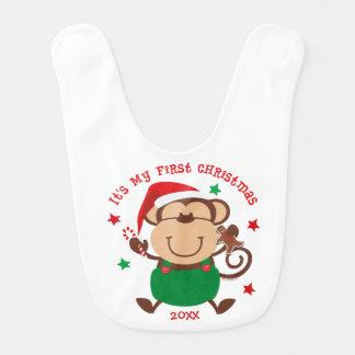 Navidad del muchacho del mono 1r baberos de bebé