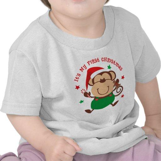 Navidad del muchacho del mono 1r camisetas