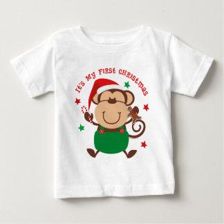 Navidad del muchacho del mono 1r playera para bebé