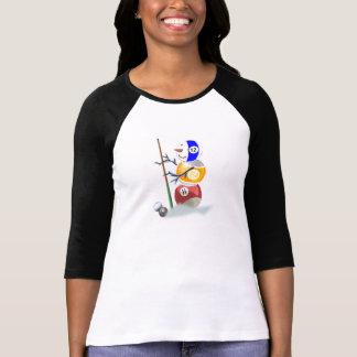Navidad del muñeco de nieve de la bola de billar camisetas