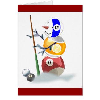 Navidad del muñeco de nieve de la bola de billar tarjeta de felicitación