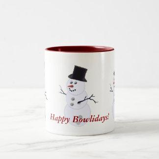 Navidad del muñeco de nieve de la bola de bolos tazas de café