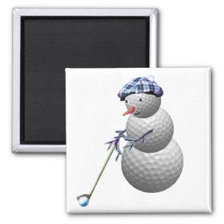 Navidad del muñeco de nieve de la pelota de golf imán cuadrado