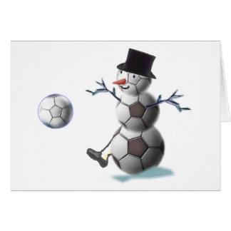 Navidad del muñeco de nieve del balón de fútbol tarjetas