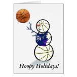Navidad del muñeco de nieve del baloncesto tarjetas