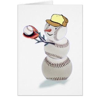 Navidad del muñeco de nieve del béisbol tarjeta de felicitación
