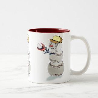 Navidad del muñeco de nieve del béisbol taza