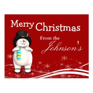 Navidad del muñeco de nieve del dibujo animado que postal