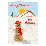 Navidad del muñeco de nieve del Tumbleweed de Felicitaciones