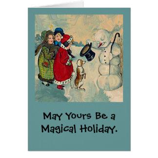 navidad del muñeco de nieve del vintage tarjeta de felicitación