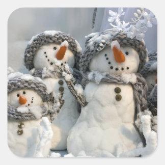 Navidad del muñeco de nieve pegatina cuadrada