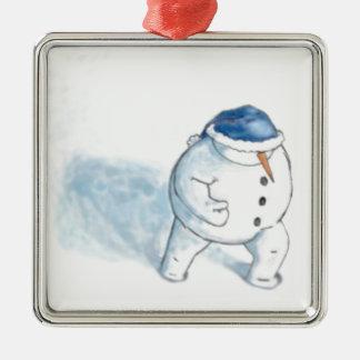 Navidad del muñeco de nieve que saluda adorno de navidad