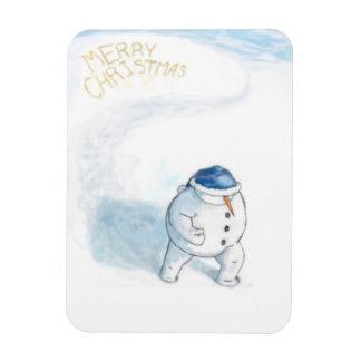 Navidad del muñeco de nieve que saluda iman rectangular