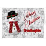 Navidad del muñeco de nieve que saluda - nieta tarjetas