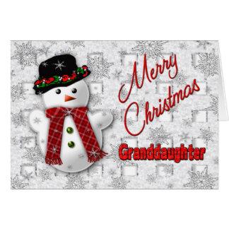 Navidad del muñeco de nieve que saluda - nieta tarjeta de felicitación