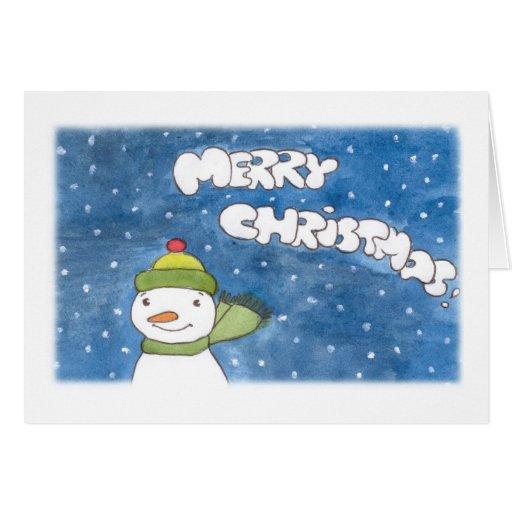 Navidad del muñeco de nieve tarjeta de felicitación