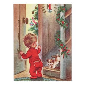 Navidad del niño y del perrito del vintage tarjeta postal