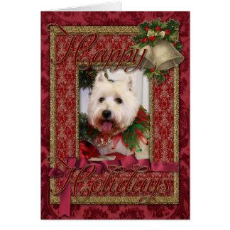 Navidad del oeste Photocard de Terrier de la monta