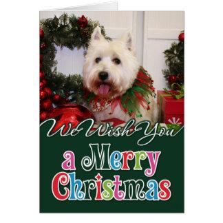 Navidad del oeste Photocard de Terrier de la monta Tarjetón