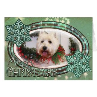 Navidad del oeste Photocard de Terrier de la monta Felicitación