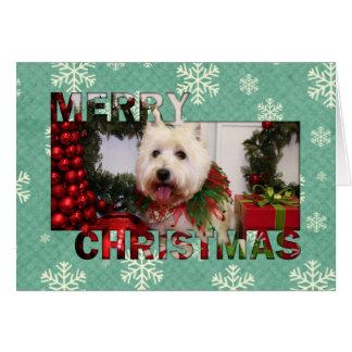 Navidad del oeste Photocard de Terrier de la monta Tarjeta