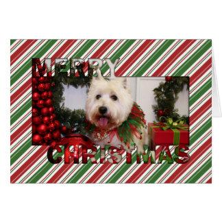 Navidad del oeste Photocard de Terrier de la monta Tarjetas
